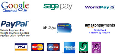Google Checkout, Sagepay, Worldpay, Paypal, Barclaycard EPDQ, Amazon Paymewnts, Visa, Mastercard